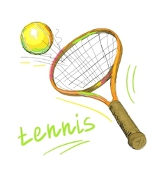 tennis racket and ball 1 vector image vector image