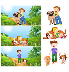 Boy and girl with pet dogs vector