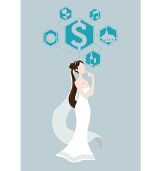 bride thinking about wedding price vector image