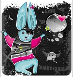 emo rabbit vector image