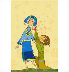 enamoured man and girl vector image vector image