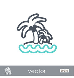 island with palm trees icon summer vacation vector image vector image
