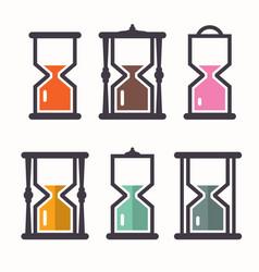 sand clock retro flat design icons set vector image vector image