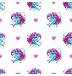 seamless pattern with cute cartoon pony girl vector image vector image