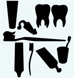 Tooth brushes tooth paste and human tooth vector image