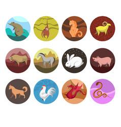 zodiac set icons of zodiac animals for horoscope vector image vector image
