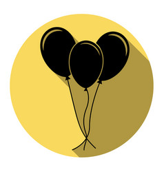balloons set sign flat black icon with vector image vector image