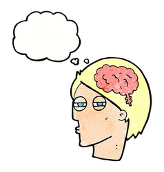 cartoon man thinking carefully with thought bubble vector image