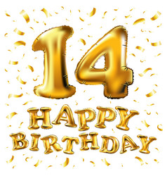 Golden 14 number fourteen metallic balloon party vector