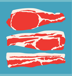strips sliced bacon vector image vector image