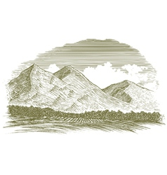 Woodcut Rural Mountain Scene vector image vector image