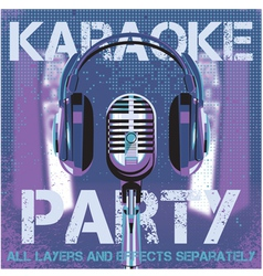 bmicrophone and headphones for karaoke party vector image vector image