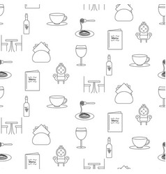 restaurant line icon seamless pattern vector image