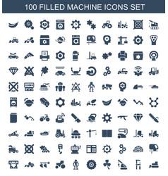 100 machine icons vector