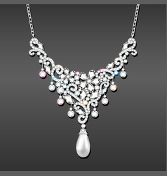 a necklace with her wedding with precious stones vector image