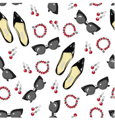a pattern of women shoes and accessories on a vector image