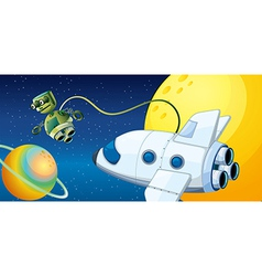 A robot near a planet with an orbit vector image