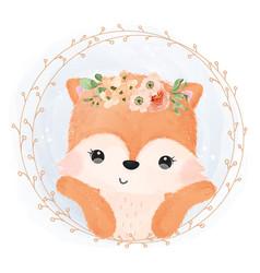 Adorable fox in watercolor vector