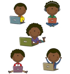 African-American boys with laptops vector image