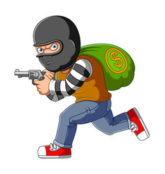 Bank robber running with money bags and gun vector