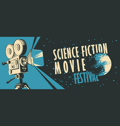 Banner for science fiction movie festival with vector