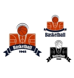 Basketball game sporting symbol or emblem vector image