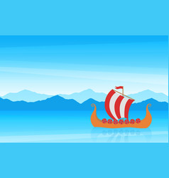 beautiful cartoon scenic seascape with mountain vector image