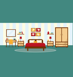 Bedroom interior in flat stile vector