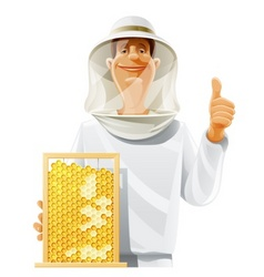 Beekeeper with bee hive vector