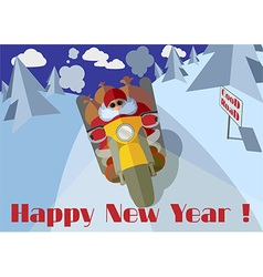 Biker Santa riding on a motorcycle with gifts vector