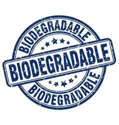 Biodegradable blue grunge stamp vector