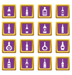 bottle forms icons set purple vector image