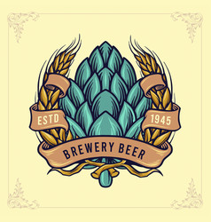 brewery beer badge with ribbon logo vector image