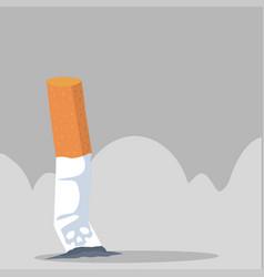 Burning cigarette butt flat vector