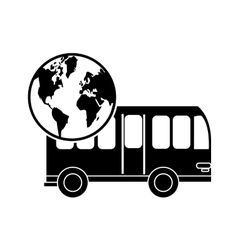 bus and earth globe icon vector image