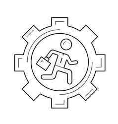 Businessman running in the gear line icon vector