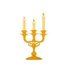 Candelabrum with three candles vintage golden vector
