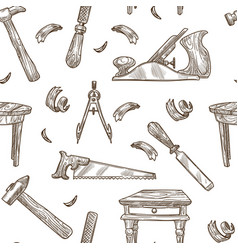 Carpentry tools pattern background vector