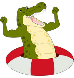 Cartoon strong crocodile vector