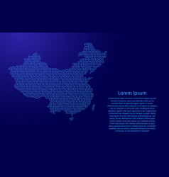 china map abstract schematic from blue ones and vector image