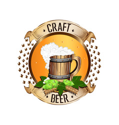 colorful emblem of beer in vintage style vector image