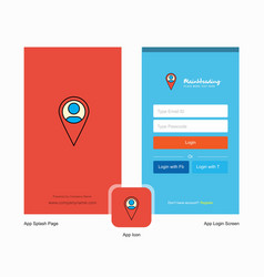 Company map navigation splash screen and login vector