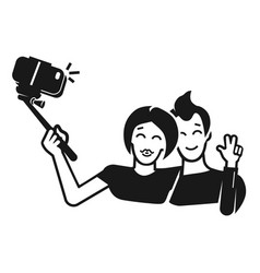 couple takes monopod selfie icon simple style vector image