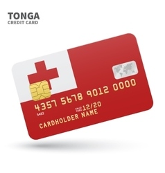 Credit card with Tonga flag background for bank vector image