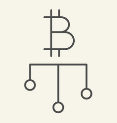 crypto diagram thin line icon bitcoin chart vector image