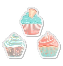 Cupcake stickers food labels set in pastel colors vector