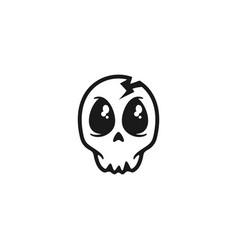 cute skull logo design vector image