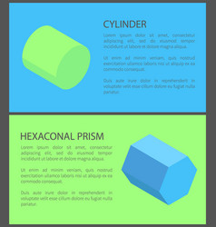cylinder and hexagonal prism colorful posters vector image