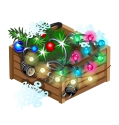 Decoration cristmas box with garland vector image
