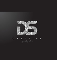 Ds d s letter logo with zebra lines texture vector
